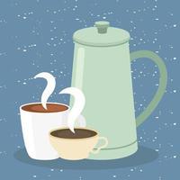 xícaras de café e bule em desenho vetorial de fundo azul vetor