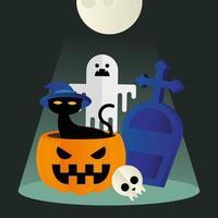 gato de halloween em uma abóbora com desenho vetorial fantasma e grave vetor