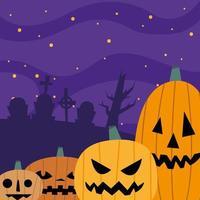 abóboras de halloween em um cemitério à noite desenho vetorial vetor