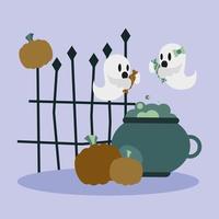 desenho vetorial de fantasmas de halloween vetor