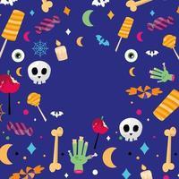 Doces de halloween em desenho vetorial de fundo azul