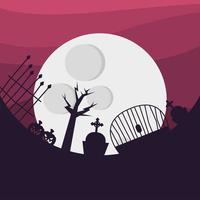 cemitério de halloween e desenho vetorial de lua vetor