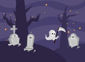 desenho de fantasma de halloween em um desenho vetorial de cemitério vetor