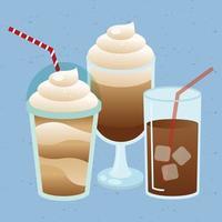 composição de bebidas de café gelado fofa vetor