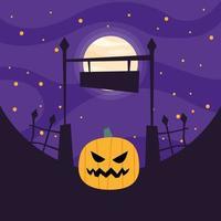 abóbora de halloween no cemitério vetor