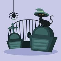 gato de halloween com chapéu em desenho vetorial de cemitério vetor