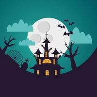 casa de halloween e cemitério à noite desenho vetorial vetor