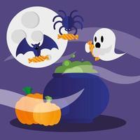 desenho vetorial de fantasma e abóboras de halloween