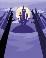 casa assombrada de halloween com árvores à noite desenho vetorial vetor