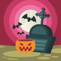 abóbora e sepultura de halloween com desenho vetorial de morcegos vetor