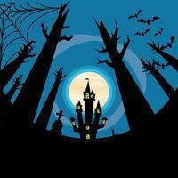 casa assombrada de halloween com desenho vetorial de árvores e morcegos vetor