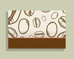pôster branco com desenho vetorial de grãos de café vetor