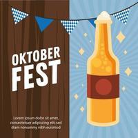 desenho vetorial de garrafa de cerveja oktoberfest vetor