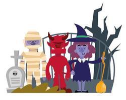 personagens de celebração de halloween vetor