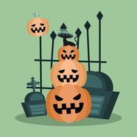 abóboras de halloween com desenho vetorial de sepulturas