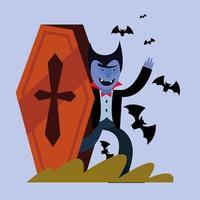 desenho animado de vampiro de halloween dentro de um caixão com desenho vetorial de morcegos vetor
