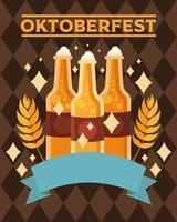 garrafas de cerveja oktoberfest com desenho vetorial de fita vetor