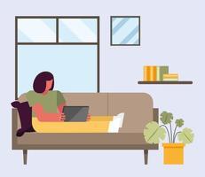 mulher com laptop trabalhando no sofá vetor