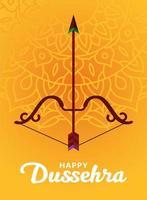 Dussehra feliz e arco com flecha no desenho de vetor de fundo amarelo mandala