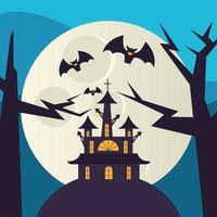 Halloween casa assombrada à noite desenho vetorial vetor