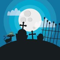 gato de halloween com chapéu em desenho vetorial de cemitério