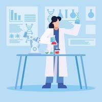 projeto de pesquisa de vacina contra coronavírus com mulher química trabalhando vetor