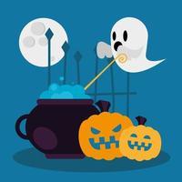 desenho vetorial de fantasma e abóboras de halloween vetor