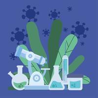 pesquisa de vacina de vírus covid 19 com frascos de química e desenho vetorial de folhas vetor