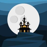 casa assombrada de halloween em frente à lua vetor