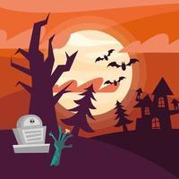 mão zumbi de halloween e desenho vetorial grave