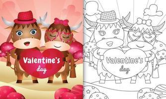 livro de colorir para crianças ilustrado com lindo casal de búfalos do dia dos namorados vetor