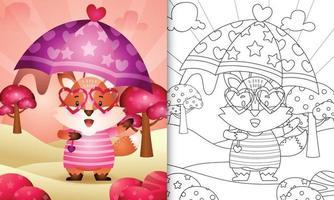 livro de colorir para crianças com uma raposa fofa segurando guarda-chuva com o tema do dia dos namorados