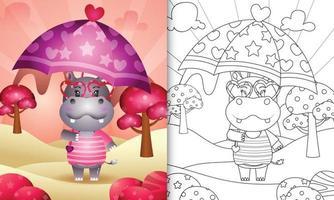 livro de colorir para crianças com um hipopótamo fofo segurando guarda-chuva com o tema do dia dos namorados
