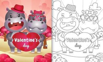 livro de colorir para crianças ilustrado com casal de hipopótamos fofos