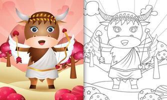 livro de colorir para crianças com um anjo búfalo fofo usando fantasia de cupido com o tema do dia dos namorados