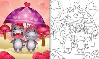 livro de colorir para crianças com um lindo casal de hipopótamos segurando guarda-chuva com o tema do dia dos namorados