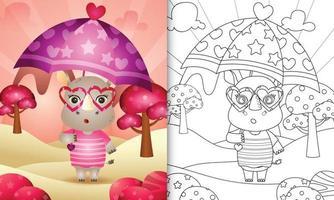 livro de colorir para crianças com um rinoceronte bonito segurando guarda-chuva com o tema do dia dos namorados