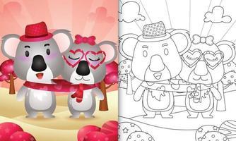 livro de colorir para crianças ilustrado com um lindo casal de coalas do dia dos namorados vetor