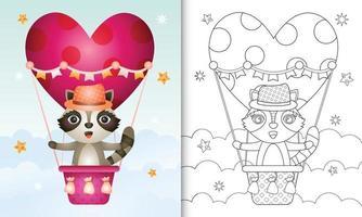 livro de colorir para crianças com um lindo guaxinim masculino em um balão de ar quente com tema de dia dos namorados vetor