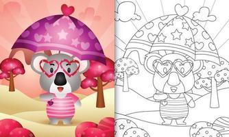 livro de colorir para crianças com um coala fofo segurando guarda-chuva com o tema do dia dos namorados vetor