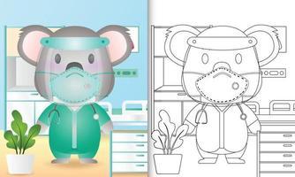 livro de colorir para crianças com uma ilustração de um coala fofo usando fantasia de equipe médica vetor