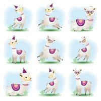 coleção fofa de alpaca no estilo infantil vetor