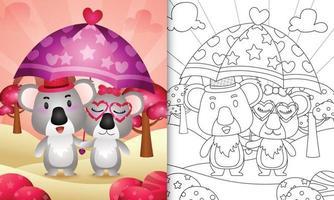 livro de colorir para crianças com um lindo casal de coalas segurando guarda-chuva com o tema do dia dos namorados vetor