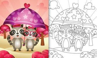 livro de colorir para crianças com um lindo casal de guaxinins segurando guarda-chuva com o tema do dia dos namorados vetor