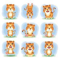 coleção de tigres fofos no estilo infantil vetor