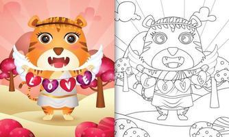 livro de colorir para crianças com um anjo tigre fofo usando fantasia de cupido segurando uma bandeira em forma de coração