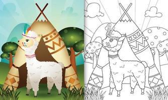 livro de colorir para crianças com uma ilustração de um lindo personagem tribal boho alpaca vetor