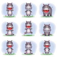 coleção de hipopótamos fofa no estilo infantil vetor