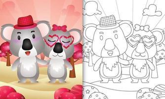 livro de colorir para crianças com um lindo casal de coalas com o tema do dia dos namorados vetor