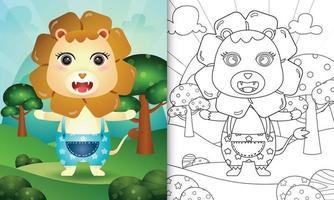 livro de colorir para crianças com uma ilustração de um leão fofo vetor